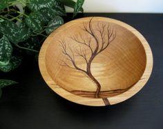 Bol en bois-arbre en hausse, Wedding Gift, saladier, Beech Wood, pyrogravure, chauffage au bois