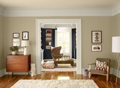 Neutral Living Room Ideas - Simple, Stylish Neutral Living Room - Paint Color Schemes (Benjamin Moore paint — Shaker Beige [#HC-45] on walls, Navajo White [#OC-95] on ceiling and shelf insets, Mysterious [#AF-565] on bookshelf)