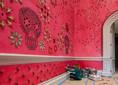 American artist Jennifer Angus has used an intricate pattern of insects to decorate a vivid pink room at the Renwick Gallery in Washington DC.