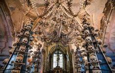 Human Skeletons Decorate the Sedlec Ossuary Just a Few Miles Outside Prague, Czech Republic Prague Travel Guide, Travel Europe, Shopping Travel, Budget Travel, Best Vacation Spots, Best Vacations, Picsart, Stuff To Do, Things To Do
