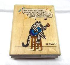 Kliban rubber stamp Cat Lyrics Rubber Stampede by NoodlesNotions