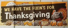 5.5 Ft Vintage Thanksgiving Banner Poster Sign Store Display Pilgrim Turkey 2 Sided #thanksgivingdecor