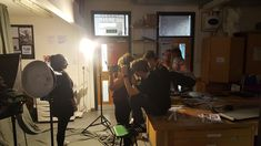 A Level photography studio at Kingsbridge Community College - students prepare for the Sixth Sense exhibition at Harbour House
