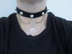 Spiked pentagram choker, pastel goth choker, nu goth, grunge, gothic choker…
