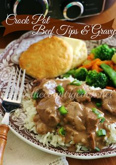 Crock Pot Beef Tips and Gravy recipe from The Country Cook. Tender flavorful bits of beef covered in a rich and flavorful gravy.