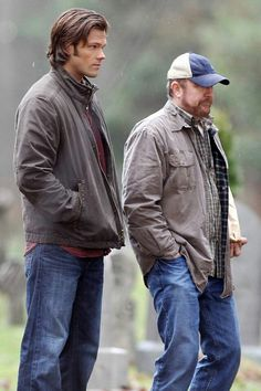 Supernatural. On set //  They look cold...and miserable.  Just in case you thought being an actor was all glamor and press parties...NOT!!