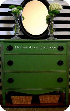 LOVE this kelly green dresser!