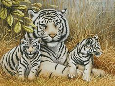 Artecy Cross Stitch. White Tiger and Cubs Cross Stitch Pattern to print online.