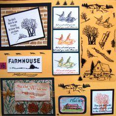 Bord met kaarten gemaakt de Farmhouse scene-it stempelset. Verkrijgbaar bij http://www.multihobby.nl/hobbystempels/hobby-clear-stempels-voor-kaarten-maken-en-scrapbooking