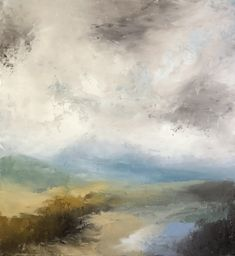 """Oil and cold wax original art by Lori Drew. 16 x 18 x 1.5"""" on cradled wood panel. loridrew.net Wood Paneling, Landscape Art, Sweet Dreams, Original Art, Wax, Cold, The Originals, Painting, Wooden Panelling"""