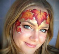 Lisa Joy Young fall leaf face paint design.