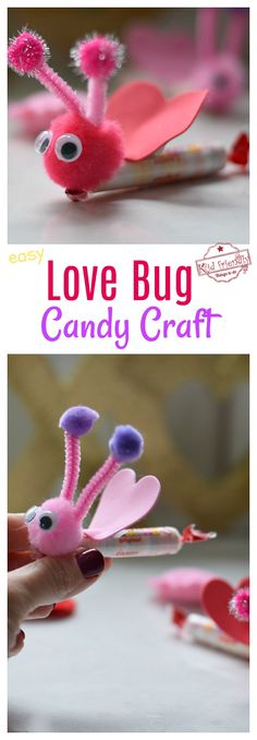 This Love Bug is a Valentine's Day Homemade Craft that's also a fun treat for ki. This Love Bug is a Valentine's Day Homemade Craft that's also a fun treat for kids. Perfect for Kinder Valentines, Easy Valentine Crafts, Valentine Gifts For Kids, Homemade Valentines, Valentines Day Party, Valentines Day Decorations, Valentines Sweets, Valentinstag Party, Bug Candy
