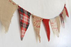 Burlap and linen fabric pennant banner