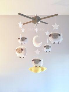 Baby Crib Mobile - Sheep Mobile - Lamb Mobile - by GiseleBlakerDesigns on Etsy https://www.etsy.com/listing/499182586/baby-crib-mobile-sheep-mobile-lamb