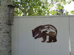 Bear Mountain Scene Metal Wall Art Home Decor - Antique Copper Color Copper Art, Copper Color, Antique Copper, Metal Walls, Metal Wall Art, Black Bear Decor, Rustic Western Decor, Metal Projects, Bear Cubs