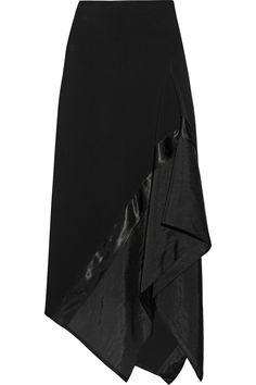 Donna Karan New YorkAsymmetric satin and organza-paneled wool-blend skirt