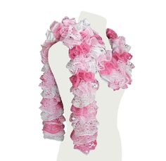 Pink and White Ruffle Scarf Valentine Gift Idea by craftcrazy4u, $18.00