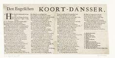 Anonymous   Tekstblad bij de prent van Cromwell als koorddanser, 1652, Anonymous, 1652   Tekstblad bij de spotprent op Oliver Cromwell als koorddanser ten tijde van de Eerste Engelse Oorlog. Tekst in 4 kolommen met de legenda A-N in het Nederlands.