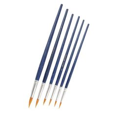 6 Pcs Blue Long Handle Round Pointed Tip Paint Brushes