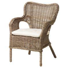 IKEA - BYHOLMA / MARIEBERG, Sessel, , Handarbeit - jedes Produkt ist ein Einzelstück mit runden Formen und detaillierten Mustern.Möbel aus Naturmaterial sind leicht, dennoch stabil und langlebig.Stapelbar; Platz sparend, wenn nicht in Gebrauch.Die Polster sind beidseitig verwendbar und halten daher länger.Leicht sauber zu halten - der abnehmbare Bezug kann in der Maschine gewaschen werden.