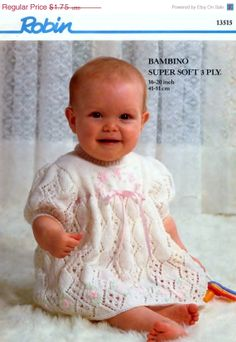 Baby 3ply Dress / Angel Top  for Sizes 16  22 ins  by avintagescot, $1.65