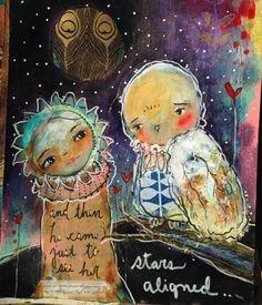When Stars Aligned... an art journal page by Juliette Crane. #juliettecrane #serendipityclass