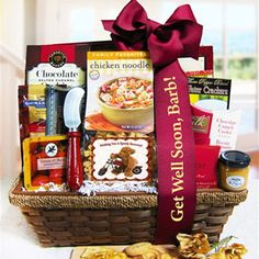Description: This gourmet gift basket features hearty gourmet foods for a speedy recovery. Cranberry and almond medley, chicken noodle soup and warm hot cocoa will have them back on their feet in no time. Get Well Gift Baskets, Get Well Gifts, Cookie Gifts, Candy Gifts, Cheese Baskets, Salted Caramel Cookies, English Breakfast Tea, Get Well Wishes, Chocolate Crunch