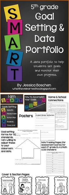Goal Setting  Data Portfolio {Fifth Grade}: This packet will help students start setting academic and behavior goals. Through classroom discussions students are introduced to the concept of SMART goals and learn how to set a realistic goal.  Available for grades 2-5.  #goalsetting #dataportfolio