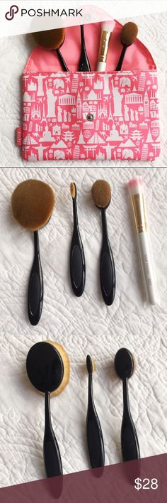 Makeup Brushes 4 brand new and never used makeup brushes. Includes 1 large oval brush (for setting powder/blush/foundation) 1 small oval brush (for contouring/blush/bronzer) 1 tiny oval brush (for eyeshadow/eyebrows/concealer) and one small contour brush. Super soft brushes. No brand. Includes little makeup bag. Makeup Brushes & Tools