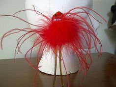 red hair feather stick with glass by ladybugladyjjjsalon on Etsy, $19.08