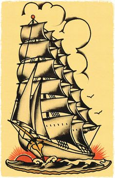 ... Ship masted sailing vessle Navy boat Sailor Jerry Style FLash Poster