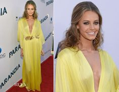 Christine Marzano in a sunshine yellow Maria Lucia Hohan gown with a risqué plunging neckline and gold embellished waistband. Paranoia: L. Marzano, Red Carpet Dresses, Plunging Neckline, Yellow Dress, Hollywood Actresses, Evening Gowns, Crushes, Celebrity Style, Sunshine