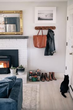 Jess Ann Kirby creates a faux entryway in her renovated living room