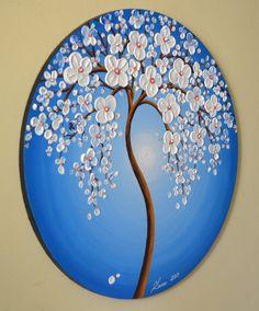 Azul arte de la pared árbol abstracto pintura oficina por ZarasShop