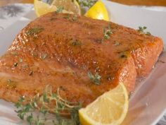 """Salmon with Maple-Dijon Glaze (Wholesome Harvest) - Nancy Fuller, """"Farmhouse Rules"""" on the Food Network."""
