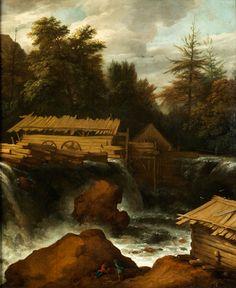 SÄGEMÜHLE AM FLUSS Öl auf Leinwand. 74 x 62 cm. Um einen eine Stufe herab stürzenden Gebirgsbach hat der Künstler einige Gebäude, darunter eine...