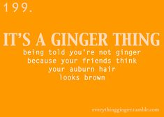 """a ginger thing <-- YES. A thousand times yes! *inside* """"No, your hair's not red, it's brown."""" *goes out in direct sunlight* """"Oh, never mind.) Go gingers! Ginger Humor, Ginger Quotes, Ginger Facts, Redhead Memes, Redhead Facts, Red Hair Quotes, Redhead Problems, Red To Blonde, Red Hair Don't Care"""