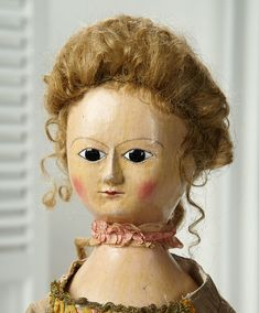 """Outstanding 18th Century English Wooden Doll """"Ann"""" in Grand Size 25,000/35,000 