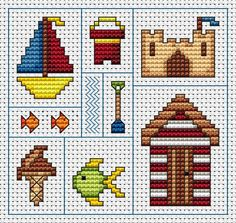 Cross-stitch Seaside Delights ... no color chart available, just use the pattern chart as your color guide..