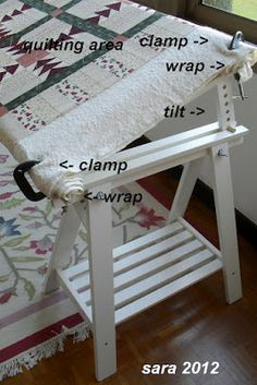 Celebrate Hand Quilting: DIY Quilting Floor Frame ~ this is an INEXPENSIVE home hand quilting floor frame that is easy to put together without being a carpenter!  Now you can enjoy hand quilting while watching TV with the family.