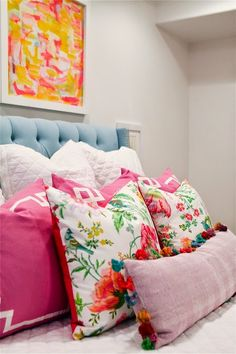 Tween Girl's Room Reveal: The floral pillows are bright & colorful and are nice with classic greek key sham + neutral bedding (Pottery Barn Belgian Linen Diamond Quilt & shams)