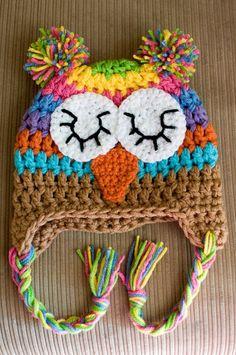 Crochet Rainbow Owl Hat