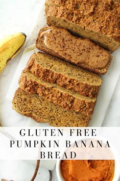 This gluten free pumpkin banana bread is extra moist and fluffy and sweetened naturally with only bananas. Its the best of both worlds with combination pumpkin bread and banana bread wrapped into one. Perfect in the fall and all year long! Banana Bread Cake, Pumpkin Banana Bread, Gluten Free Banana Bread, Gluten Free Pumpkin, Healthy Pumpkin, A Pumpkin, Pumpkin Recipes, Pumpkin Spice, Banana Recipes
