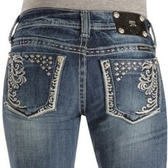 Miss Me Jeans #Miss_Me_Jeans #fashion #blue_jeans #love Miss Me Jeans - Studded Embroidery Slim Fit