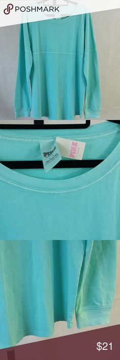 Pink Victoria's Secret Long Sleeve Shirt Round-neck. Long sleeve. Sea foam green. Ribbed cuffs. 100% Cotton. PINK Victoria's Secret Tops Tees - Long Sleeve