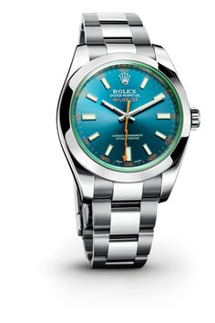 ROLEX MILGAUSS Z BLUE WATCH: It was created in 1956 for engineers and technicians who are exposed in their work to magnetic fields which disrupt the performance of mechanical watches. It was designed to resist strong interference of up to 1,000 gauss, hence its name - mille being French for thousand – while maintaining its performance and precision as an officially certified chronometer.