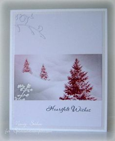Pink Winter card by Nancy Stislow Beautiful Christmas Cards, Christmas Cards To Make, Xmas Cards, Holiday Cards, Penny Black Cards, Advent, Winter Cards, Flora, Copics