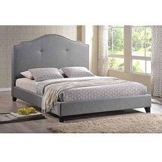 Baxton Studio Marsha Scalloped Queen Linen Modern Bed with Upholstered Headboard, Gray