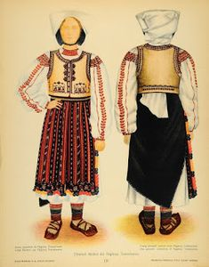 Romanian folk costumes are visually very impressive and some of the finest European folk costumes. Fashion D, Folk Fashion, Fashion History, Popular Costumes, Costumes For Women, Traditional Dresses, Traditional Art, Romanian Men, Medieval Clothing