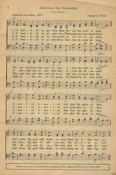 "sheet music for ""America the Beautiful"" ~ print & frame? 